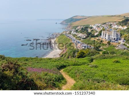 Portwrinkle village and coast Whitsand Bay near Looe Cornwall England United Kingdom on South West Coast Path