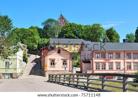 Porvoo, Finland. Old Bridge and the street Sillanmaki