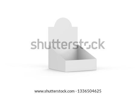 POS POI Cardboard Blank Empty Display Show Box Holder For Advertising Fliers, Leaflets, Products, Magazines and Newspapers. Mock Up Template Isolated On White Background. 3D Illustration