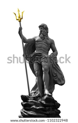 Poseidon or Neptune a statue sitting on a rock, holds a three-pronged weapon isolated on white background. This has clipping path.