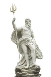 Poseidon statue isolated on white background