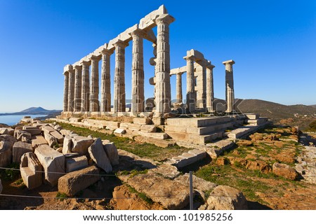 Poseidon Temple at Cape Sounion near Athens, Greece