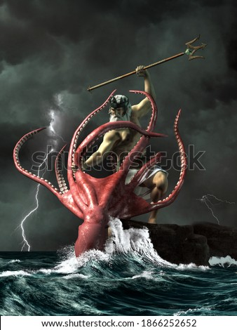 Poseidon, the ancient Greek god of the sea does battle with the Kraken, a giant octopus. 3D Rendering Photo stock ©