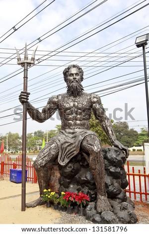Poseidon with Trident made of iron .