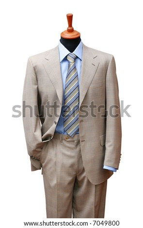 Posh suit on shop mannequin isolated on white