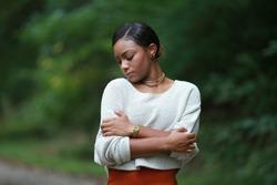 posing african, american black, girl adult fashionable model, feeling moments, enjoying