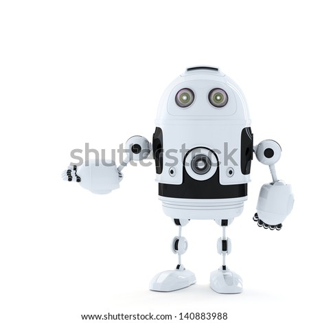 Posing Android Robot.  Rendered over white