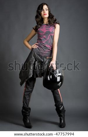 Posing girl with helmet