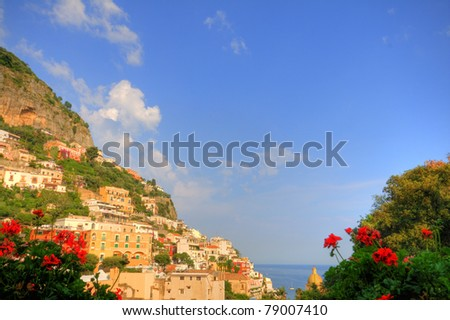 positano, amalfi coast, naples, italy, hdr - stock photo