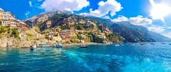 Positano coast , Italy, 2019. Positano village in the mountains. Coastal or coast view. Positano, is a village on the Amalfi Coast, Salerno, Campania. Sea Beach Travel destinations. Europe. Italian.