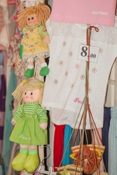 Positano, Naples, Italy - September 2017 - Rag Dolls and other object in souvenir shop