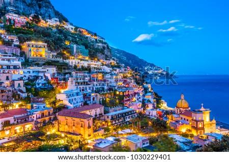 Positano sunset view.  Amalfi Coast, Italy.