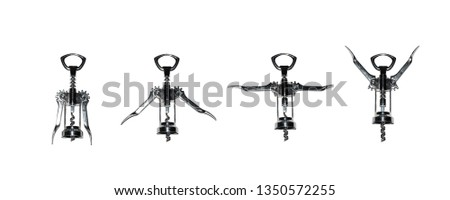 POSITIONS OF GYMNASTICS WITH CORKSCREWS ON A WHITE BACKGROUND #1350572255