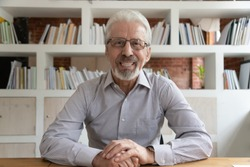 Positive aged grey-haired businessman in glasses sit at desk looking at camera, webcam view. Portrait of skilled financial advisor lead online course old entrepreneur and virtual communication concept
