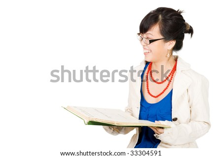 Positive asian woman in glasses reading and laugh