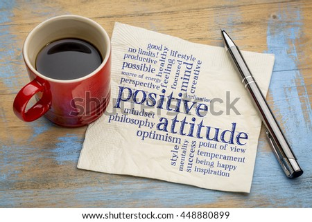 positive attitude word cloud - handwriting on a napkin with a cup of coffee #448880899