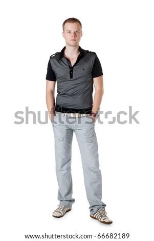 positive boy isolated on white background