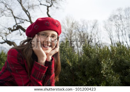 positive caucasian 11 years old girl is outdoor