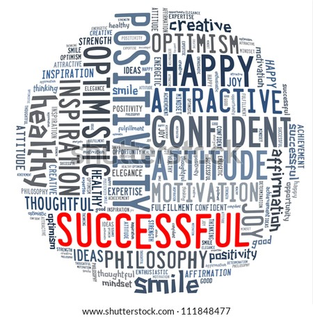 Positive concept - Word collage composed in circle shape