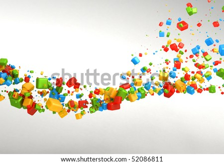 Positive Cubes Abstract Background