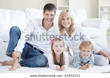 Positive family with children at home