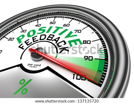 positive feedback conceptual meter indicate hundred per cent, isolated on white background