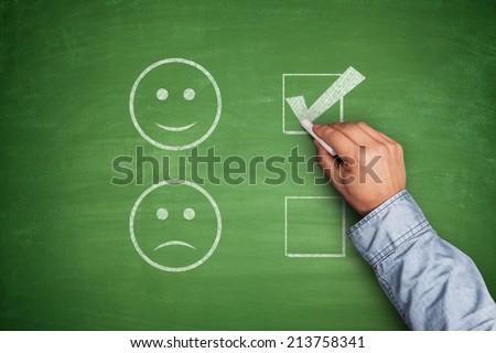 Positive Feedback on green blackboard white