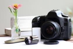 Positive film,film roll,Camera on white background, art vintage concept