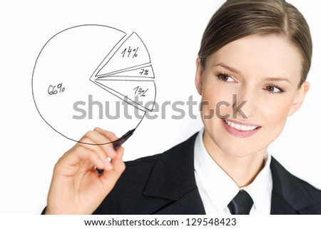 Positive growth and percentage graph drawn by business woman