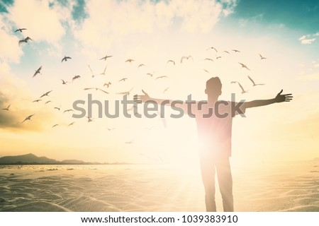 Positive Happy freedom man life worship god on bird fly beach morning summer nature view concept hope mission wellbeing health praise easter day, inspiration good feel energy in ramadan, Young vision.