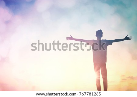 Positive health thinking man imagine in clear dream background. Christian life praise spirit God on good friday, Easter day. One wellbeing man motivation stand  concept education freedom hope energy