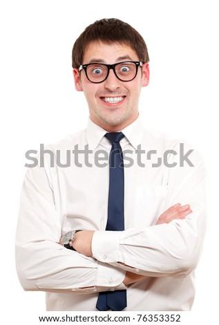 Positive man. Isoalated over white.