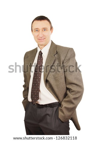 Positive middle-aged man in a business suit