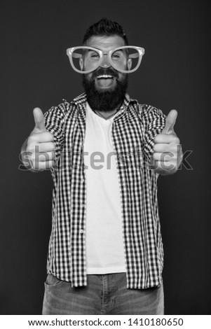 Positive mood. Positive psychology. Overcome life troubles with smile. Happiness and positive. Stay positive. Man brutal bearded hipster wear funny eyeglasses accessory. Human strengths and virtues. #1410180650