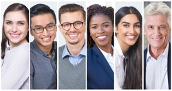 Positive multinational businesspeople portrait set. Happy smiling men and women of different races and ages multiple shot collage. Human emotions concept