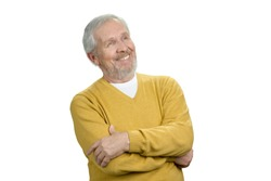 Positive old man looking up. Portrait of grandpa in sweater. White isolated background.