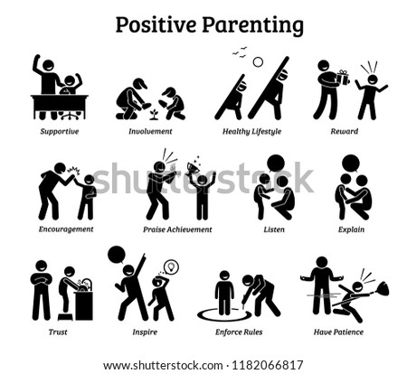 Positive parenting child upbringing. Illustrations depict the positive and healthy ways of raising a child such as supportive, involvement, reward, encouragement, trust, inspiration, and patience.