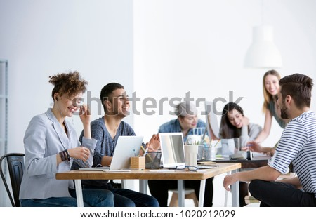 Positive relationships between smiling employees working in the corporation