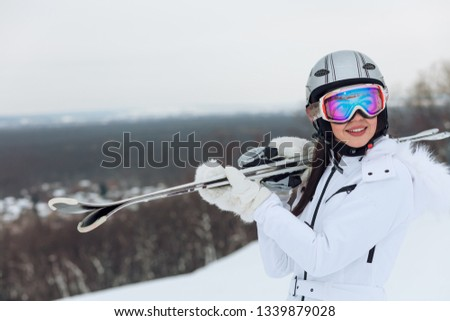 positive sportswoman enjoys weekend in winter, copy space, copy space. spare time, happy holiday #1339879028