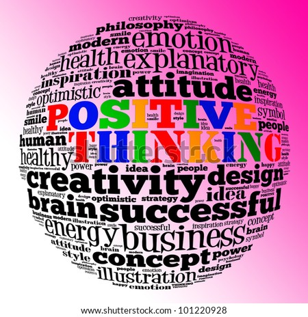 Positive thinking info text graphic and arrangement concept with red gradient background.