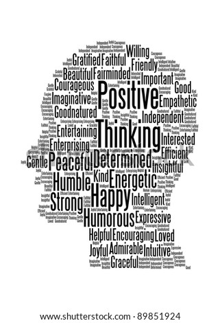 Positive thinking info-text graphics and arrangement word clouds in illustration concept