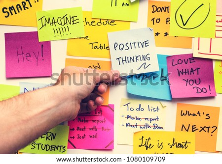 Positive thinking note on a wall