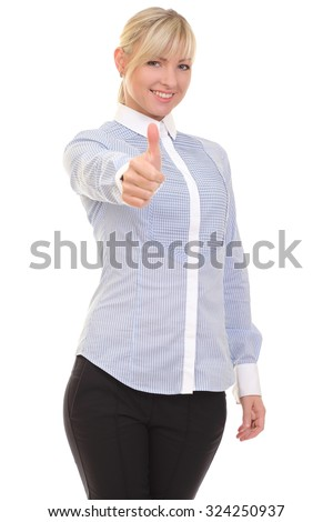 positive woman on white background Stock fotó ©