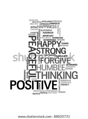 Positive words info-text graphics and arrangement concept on white background (word clouds)