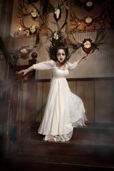 possessed demonical ghost girl in white dress