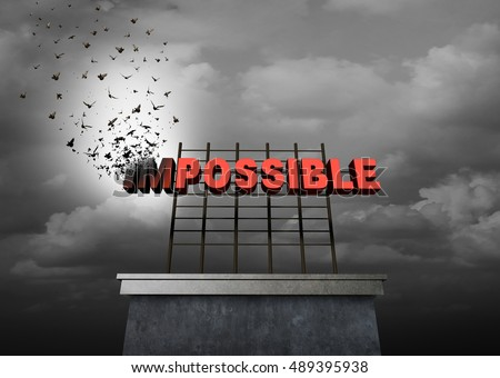 Possible positive thinking concept as a success motivational symbol as text with the word impossible transforming to birds on a sign to create the possibility word as a 3D illustration.