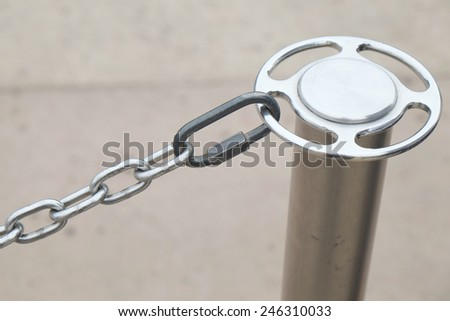 Post and chain serving as a barrier to control people in a line