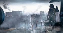 Post Apocalypse survivor concept, Ruins of a city. Apocalyptic landscape