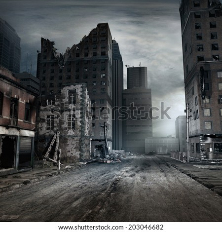 Shutterstock Post apocalyptic scene with a city street