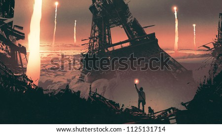 post-apocalyptic scenery showing a man and a dog standing on city ruins, digital art style, illustration painting